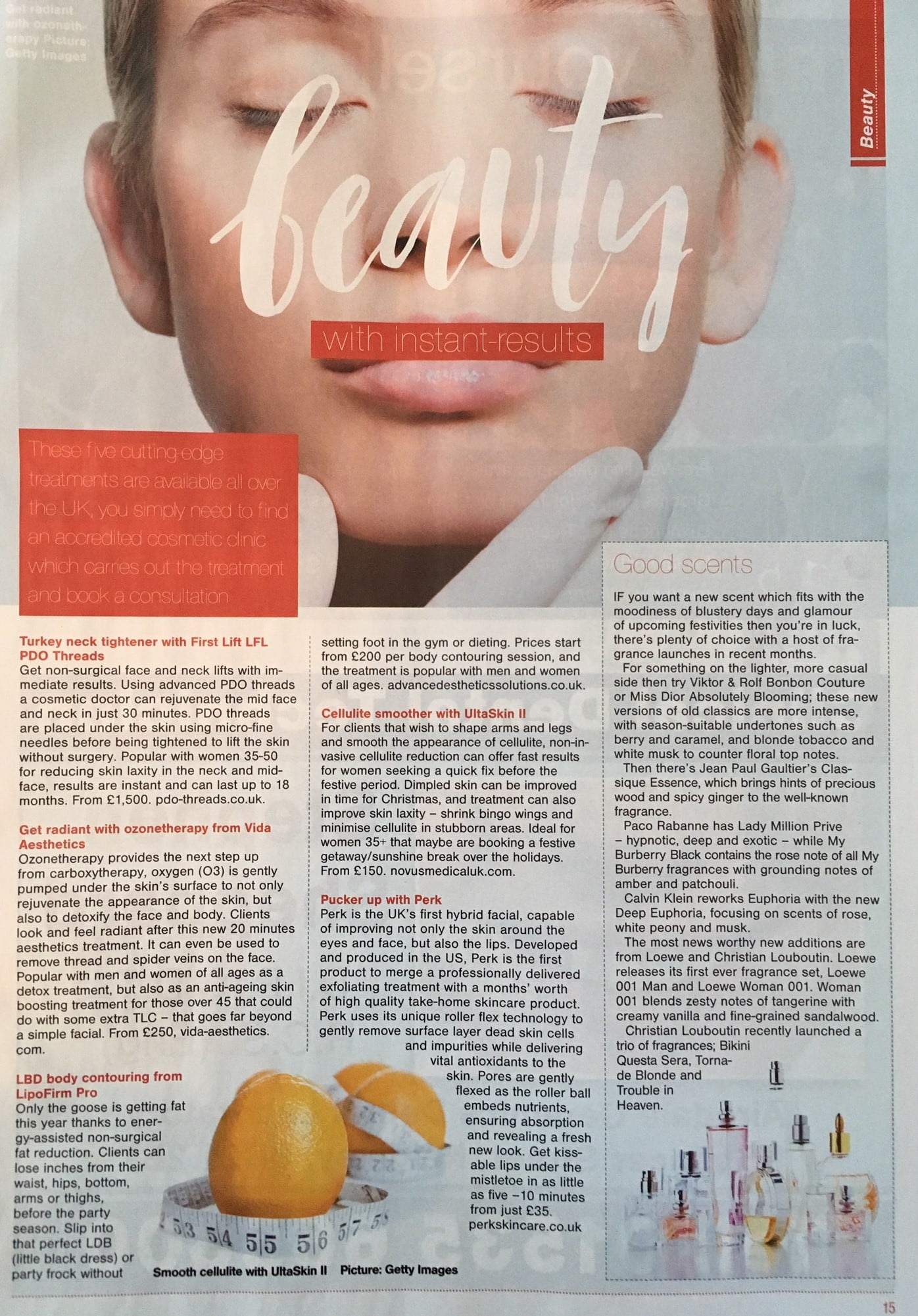 The Observer newspaper page mentioning Lipofirm Pro
